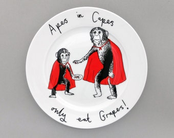 Apes in Capes side plate