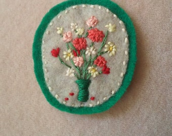 Wildflowers in Green Vase (Patch, Pin, Brooch, or Magnet)
