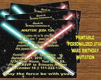 Star Wars Personalized Birthday Party Invitation - PDF or JPEG