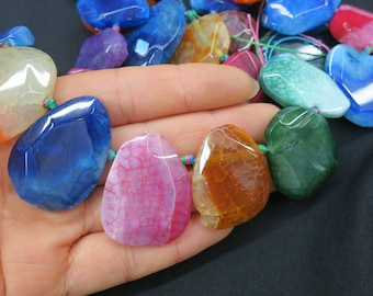 Top Drilled Colorful agate Teardrop slab Beads 27x38mm to 20x25mm- 19pcs/str