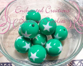 20mm Round Kelly Green with White Stars Acylic Beads Qty 10