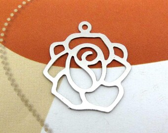 Set of 2 large Fine silver - 20 mm filigree flower charms