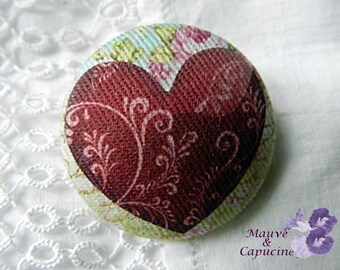 Button out of fabric, red heart, 20 mm / 0.78 in