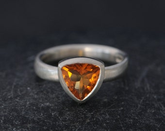 Madeira Citrine Ring  - Trillion Citrine Ring - Citrine Set in Satin Finished Sterling Silver - Orange Gemstone Ring-  SHIPPING
