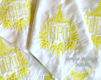 White Buffet Napkins w/  Pagoda 3 Letter Monogram Initials SET OF 6