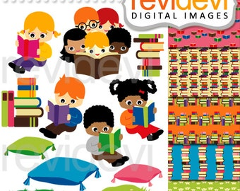 Back to school clipart sale / Reading clip art, digital papers / kids read a book / books library, multiracial boys girls clipart commercial