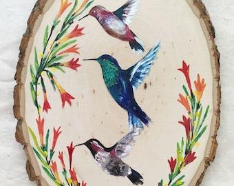 humming birds, key holder, home decor, art on wood, nature inspired art, art for home, humming bird decor, house warming gift, gift for home