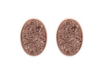 Druzy Stud Earrings - Druzy Studs - Rose Gold Druzy - Rose Gold Studs - Large Oval Studs - Rose Gold Stud Earrings