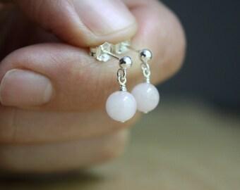 Rose Quartz Earrings Studs . Crystal Earrings Studs Sterling Silver . Natural Stone Post Earrings NEW
