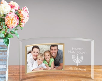 Personalized Happy Hanukkah Glass Photo Frame - Picture Frame - Children Gift - Personalized Religious Frame - Communion - gc1646HNKAHHAPPY