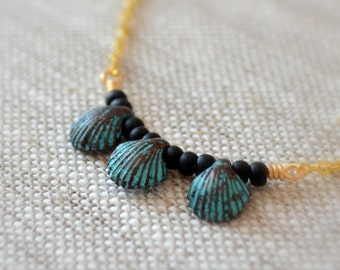 Shell Necklace, Patina, Gold Plated Chain, Wire Wrapped, Black Beaded Choker, Under 30, Beach Jewelry for Women