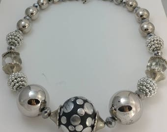 Wonderful Large Silver Metal Bead Necklace Unsigned