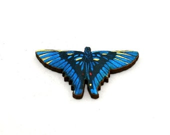 Blue Butterfly Brooch, Wood Accessory, Badge Illustration, Animal Brooch, Woodland, Wood Jewelry