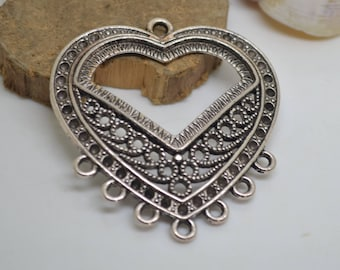 large heart connector Silver 5.5 x 5 cm
