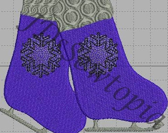 Winter/Ice Skates Machine Embroidery Design 4x4 in 17 Formats