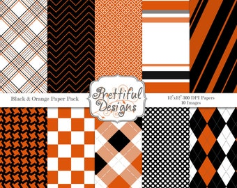 Black and Orange Digital Paper pack for Digital Scrapbooking, Photography, Card Making, Sports Team Colors