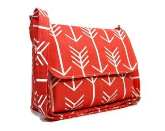Coral Arrow Messenger Bag, Fabric Purse Cotton Pocketbook Cross Body Handbag Arrow Bag Fabric Messenger Coral Purse Arrow Purse Crossbody