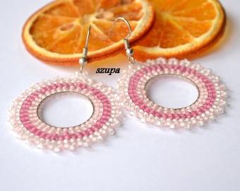 Hoop beaded earrings, woven earrings, handmade earrings, pink earrings, seed bead earrings, pink earrings, beading jewelry, gift for her, uk