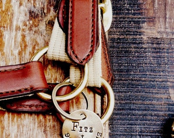 BRIDLE or HALTER Tag,  Hand Stamped. Personalized Tags. Custom Horse Saddle I.D. Identification Tag for Pets with Phone Number and Name.