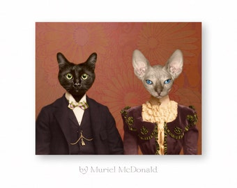"""Cat Art Print, Funny Wedding Gift, Anthropomorphic, Cat Gift, Funny Bridal Shower Gift, (3 Sizes) """"The Lost Weekend"""""""