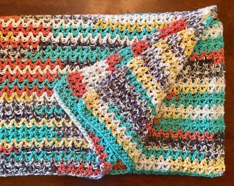 Crocheted Throw Blanket Afghan - Western Painted Canyon - Native American Blanket - Coral Turquoise - Gray - Yellow V Stitch - Large Throw