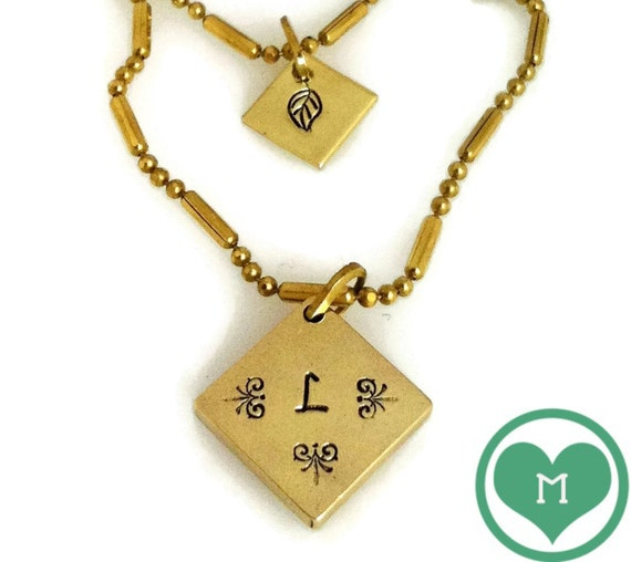 DAINTY NECKLACE DOUBLE chain and handstamped pendants/personalized/initial
