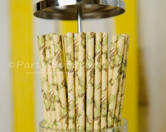 Army Camo Paper Drinking Straws,Patriotic Party Supplies,Boy Party Straws,Military Paper Straws,Military Party Straws,