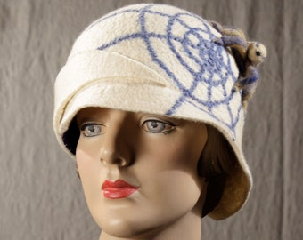 White Cloche With A Spiderweb and Crab Spider - White Cloche - Spider Hat - Hand Felted Hat - Spider Web