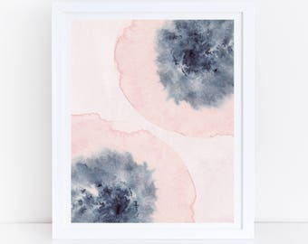 Pink Pansies, Watercolor Printable Art, Blush Pink Blue Wall Art, Watercolor Flowers, Spring Decor, Floral Print, Abstract Flowers, Digital