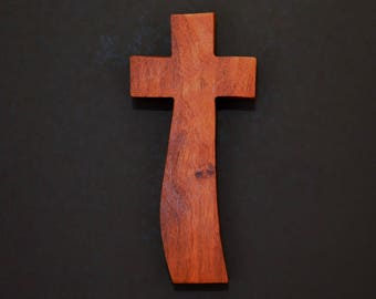 "Wooden Wall Cross; 4""x9""x1""; Rustic Cabin Decor;  Wall Cross Decor; Crooked Cross; Mesquite; Handmade;  Free Ground Shipping cc20-3121617"