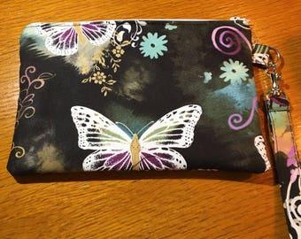 Beautiful Butterfly Wristlet, Cosmetic bag, Zipper pouch OOAK Ready to Ship