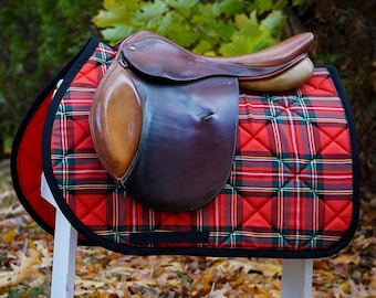 Custom Saddle Pad Red, Green, and Black Plaid - Tartan // Stewart // Blackwatch - MADE TO ORDER