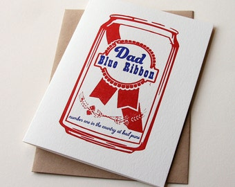 Letterpress Father's Day Card - Blue Ribbon Dad