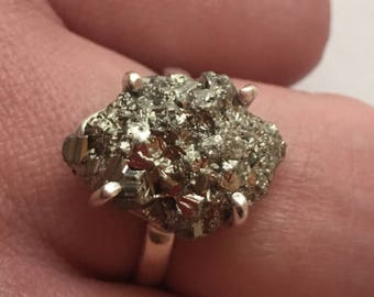 Sterling Silver 925/1000 decorated with a natural Peruvian pyrite ring / size 54