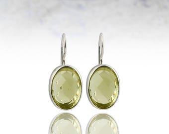 SUMMER SALE - Lemon quartz earrings,gemstone earrings,silver earrings,semiprecious earrings,bezel earrings,drop earrings