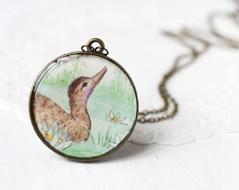 Brown Duck Vintage Art Round Pendant Necklace - Soft Brown and Mint Green Round Bird Pendant
