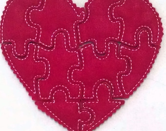Red heart Felt Puzzle game  - party favors - school treats - busy bags or quiet books - learning activity -  #P763