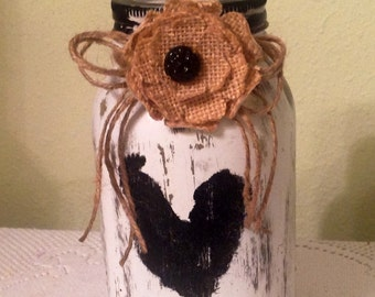Mason UpCycled Quart Jar. Rooster Decor Country Home Rooster Lover Housewarming Gift Prim Burlap Rooster Jar Country Kitchen Burlap Decor