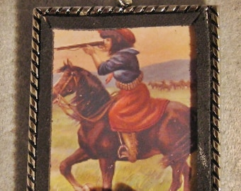 Altered Art Western Christmas Ornament Cowgirl Mounted Shooting Coral Nuggets