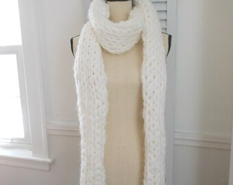 Chunky long white knitted scarf