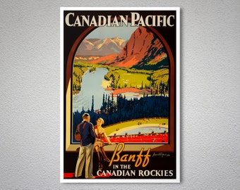 Canadian Pacific Banff in the Canadian Rockies Vintage Travel Poster - Poster Print, Sticker or Canvas Print / Gift Idea