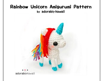 Rainbow Unicorn Amigurumi Pattern, Unicorn Toy Pattern, Amigurumi Crochet Pattern, Rainbow Nursery Toy, Unicorn Baby Toy, Cute Unicorn Doll