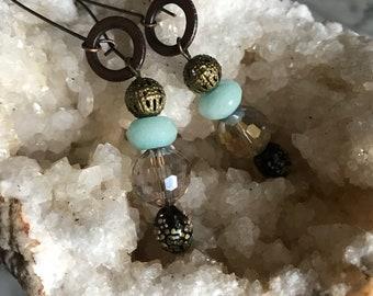 amazonite, lampwork, micro faceted crystal metal work earrings