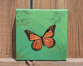 Mighty Monarch Butterfly Painting on 6x6 Canvas