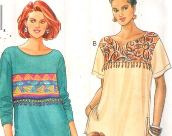 "Butterick 4015, Sz 6-10/Bust 30.5-32.5"". Ladies Very Loose Fitting Drop Shoulder Tunic Top w/ Short/Long Sleeves, UNCUT FAST & EASY pattern"