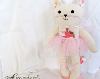 """Add-on - Tutu & Shoes for 13"""" Cat Doll - Pattern/Tutorial, sewing, ballet, ballerina, kitty, costume, fabric, simple, easy, softie, stuffed"""