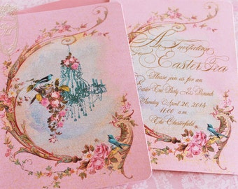 Chandelier Printemps Français du nid d'oiseau Glittered Invitation or Cards Set of 6