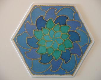 Blue lotus flower mandala on silk, 20 cm Ø 8in