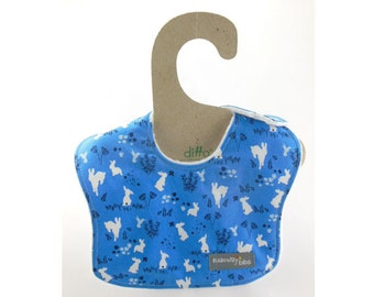 Hoppy Baby in this leakproof drool bib (Ready to ship)
