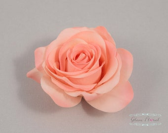 Coral Peach Rose Hair Clip, Real Touch Wedding Hair Fascinator Hair Head Piece. bridesmaids, prom Real Touch Flowers. Tea Rose Collection